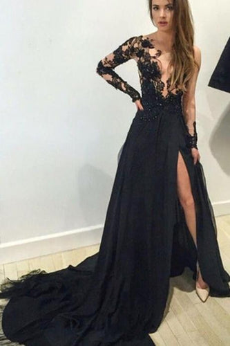 New Style Black Long Sleeves Lace Deep V Neck Thigh-High Slit Sexy Lace Evening Gowns RS111
