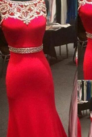 New Style Sparkle Red Beaded Bodice Long Lace Satin Mermaid Sexy Prom Dresses RS156