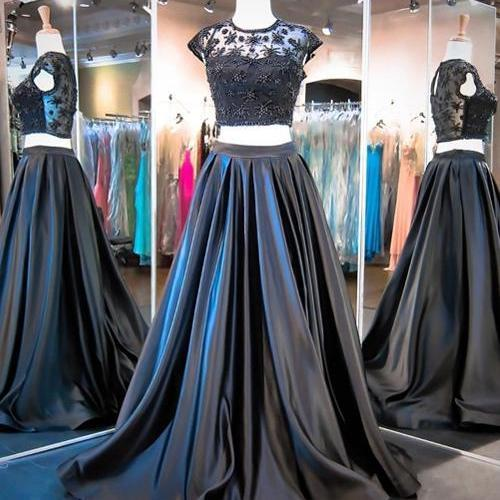 New Style Ball Gown Two Pieces Fashion Black Sweet 16 Gown Prom Dress for Spring Teens RS124