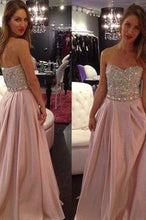 Load image into Gallery viewer, New Hot Pale Pink Strapless A-Line with Sparkly Beaded Long Sweetheart Cheap Prom Dresses RS01