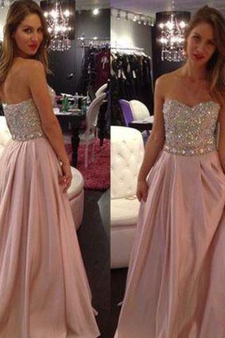 New Hot Pale Pink Strapless A-Line with Sparkly Beaded Long Sweetheart Cheap Prom Dresses RS01