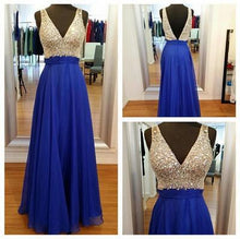 Load image into Gallery viewer, V-Neck Off the Shoulder Royal Blue Open Back Beaded Cheap Custom Made Prom Dresses RS982