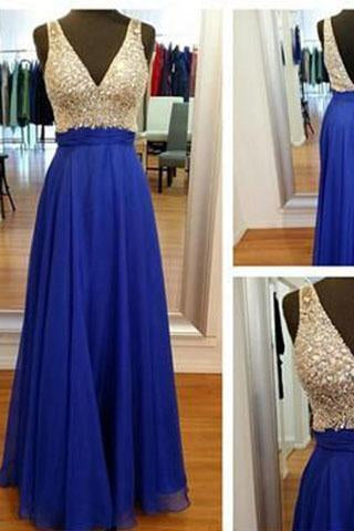 V-Neck Off the Shoulder Royal Blue Open Back Beaded Cheap Custom Made Prom Dresses RS982