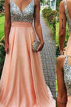 Load image into Gallery viewer, V Neckline Prom Dress Prom Dresses Evening Party Gown Formal Wear RS938