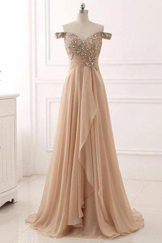 A Line Chiffon Sweetheart Off the Shoulder Beads Open Back Cheap Prom Dresses RS148
