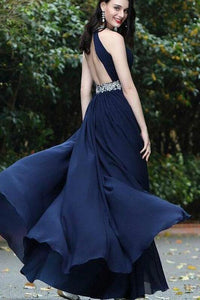 Sexy A-Line Beads Halter Cheap Royal Blue Simple Chiffon Backless Prom Dresses RS431