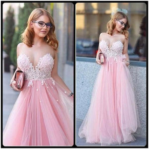 Pink Tulle Scoop Neck Princess Sweetheart Floor-length with Appliques Lace Prom Dresses RS807