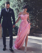 Load image into Gallery viewer, Pink Sheath Off-the-Shoulder Sweep Train Prom Dress with Lace Sash Ruffles RS779