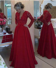 Load image into Gallery viewer, Open Back Lace Long Sleeve Deep V-Neck A-Line Button Long Cheap Prom Dresses RS954