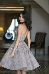 Short Gorgeous Strapless Popular Sparkly Unique Knee-Length Homecoming Dresses PD155