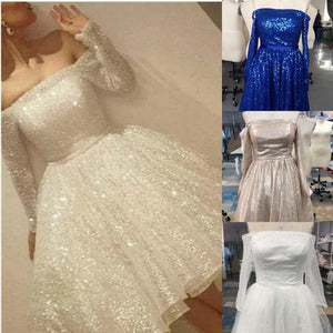 Noble Sparkle White Sequined Lace Prom Dress Sexy Off The Shoulder Long Sleeves Party Dress L86