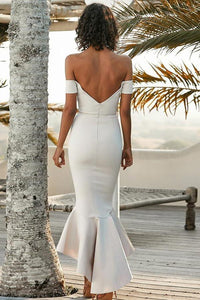 Mermaid Off the Shoulder Sweetheart Ivory Satin Open Back Ruffles Bridesmaid Dresses RS756
