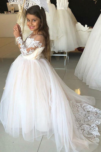 Princess A-Line Round Neck Tulle Long Sleeves Bowknot Flower Girl Dress with Appliques RS797