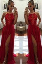 Load image into Gallery viewer, Sexy Unique Red A-Line Halter Split-Front Formal Dress Chiffon Sleeveless Long Prom Dresses RS253