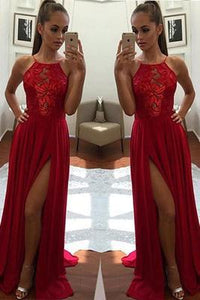 Sexy Unique Red A-Line Halter Split-Front Formal Dress Chiffon Sleeveless Long Prom Dresses RS253