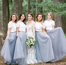 Load image into Gallery viewer, Short Sleeve White Top Light Grey Tulle Skirt Popular Floor-Length Bridesmaid Dresses RS519