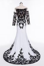 Load image into Gallery viewer, Elegant White Black Lace Appliques Mermaid Long Sleeves Satin Prom Dresses RS516