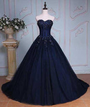 Load image into Gallery viewer, Princess Ball Gown Sweetheart Navy Blue Beads Ruffles Long Tulle Prom Dresses with Lace up RS236