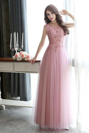 Modest Scoop Neck Tulle Pearl Detailing Lace-up Floor-length Sleeveless Prom Dresses RS632