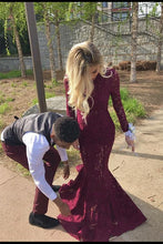 Load image into Gallery viewer, Charming High Neck Burgundy Long Sleeve Lace Mermaid Open Back Prom Dresses RS482
