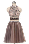 A-Line Beads Charming High Neck Open Back Two Pieces Tulle Homecoming Dresses For Teens RS401