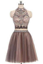 Load image into Gallery viewer, A-Line Beads Charming High Neck Open Back Two Pieces Tulle Homecoming Dresses For Teens RS401