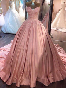 Ball Gown Pink Strapless Appliques Sweetheart Sweep Train Satin Evening Dresses RS775