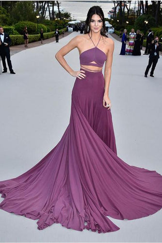 Spaghetti Straps Purple Gorgeous A-Line Chiffon Long Open Back Prom Dresses RS489