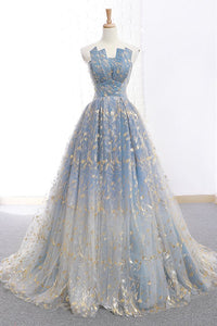Elegant A Line Blue Tulle Long Strapless Lace up Gold Evening Dress Prom Dresses RS223