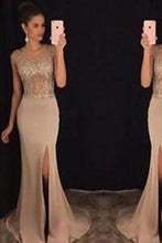Load image into Gallery viewer, New Elegant Round Neck Sequin Mermaid Chiffon Long with Slit Beads Prom Dresses RS772
