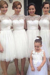 Simple A-line Bateau Knee-Length White Bridesmaid Dresses with Appliques RS480