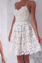 Load image into Gallery viewer, A-Line Spaghetti Straps Lace up Ivory Lace Short Sleeveless Sweet 16 Cocktail Dress RS744