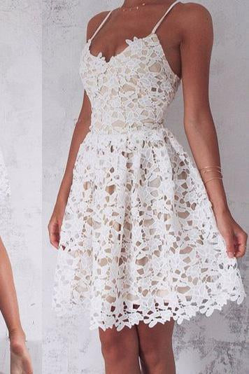 A-Line Spaghetti Straps Lace up Ivory Lace Short Sleeveless Sweet 16 Cocktail Dress RS744