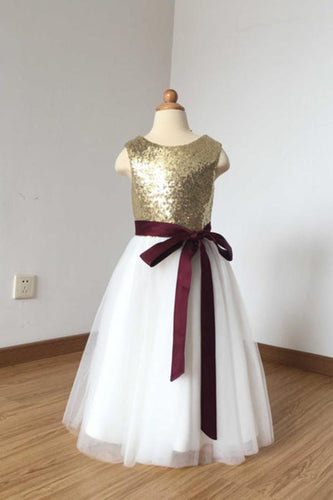 2019 A Line Simple Light Gold Sequin Ivory Tulle Scoop Flower Girl Dress with Burgundy Sash RS774