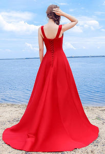 Sexy Elegant Red A-line Halter Satin Sweetheart Lace Up Simple Prom Dresses RS324