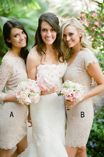 Sheath Bateau Above-Knee 3/4 Sleeves Grey Lace Appliques Prom Bridesmaid Dress RS716