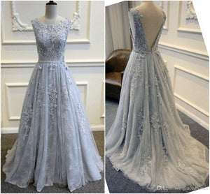 A-Line Appliques Sexy A-Line Long Cheap Prom Dresses Evening Dress Formal Women Dresses F66