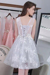 Knee-length Sleeveless Short Cute A-line Lace Appliques Tulle Homecoming Graduation Dress RS252