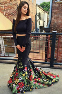 A Line Off the Shoulder Two Piece Long Sleeve Satin Floral Scoop Long Prom Dresses RS188