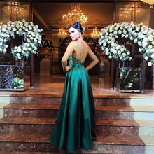Load image into Gallery viewer, Luxury green satins deep V-neck sequins applique A-line long dress evening dresses