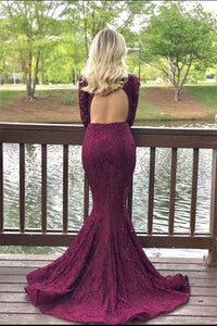 Charming High Neck Burgundy Long Sleeve Lace Mermaid Open Back Prom Dresses RS482