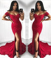 Sexy Mermaid Off the Shoulder Slit Sweetheart Short Sleeve Satin Long Prom Dresses RS40