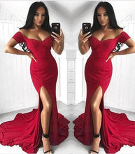 Load image into Gallery viewer, Sexy Mermaid Off the Shoulder Slit Sweetheart Short Sleeve Satin Long Prom Dresses RS40