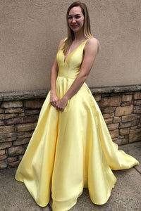Princess A Line Deep V Neck Yellow Long Satin Backless Evening Dresses Prom Dresses RS962