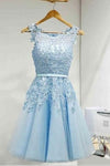 Light Sky Round Neck Tulle Appliques Short Sleeveless Graduation Homecoming Dress RS220