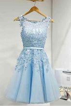 Load image into Gallery viewer, Light Sky Round Neck Tulle Appliques Short Sleeveless Graduation Homecoming Dress RS220