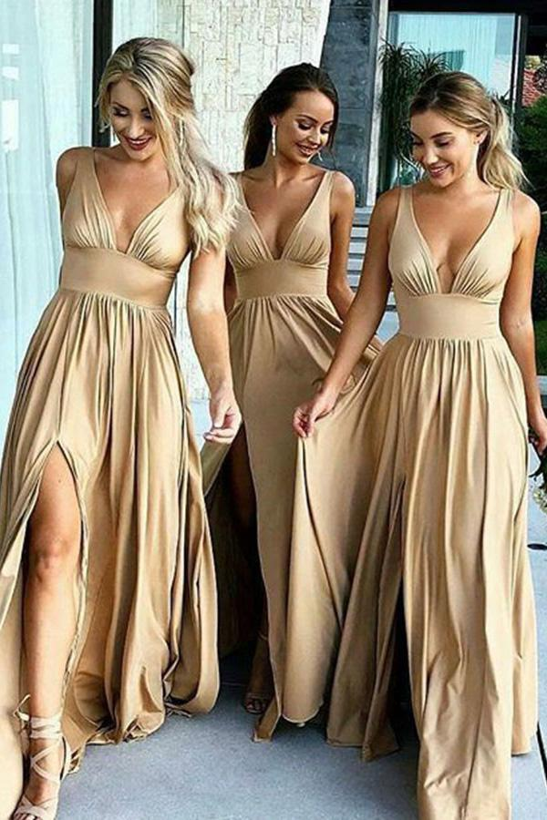 Elegant A-Line V-Neck Elastic Satin Backless Ruffles Sleeveless Bridesmaid Dress with Split RS757