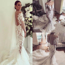 Load image into Gallery viewer, Illusion Neckline Lace Appliques Mermaid Long Sleeves Court Train Ivory Wedding Dresses RS846