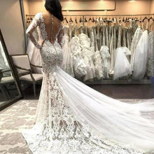 Load image into Gallery viewer, Mermaid V Neck Illusion Back Long Sleeves Ivory Tulle Court Train Wedding Dress with Lace RS845