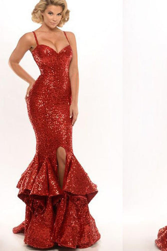 Spaghetti Straps Red Sequin Long Mermaid Front Slit Sparkle Long Prom Dresses RS520